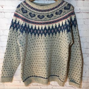 Woolrich fairisle sweater gray blue pink hearts